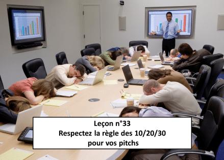 Leçon n°33 Respectez la règle des 10/20/30 pour vos pitchs